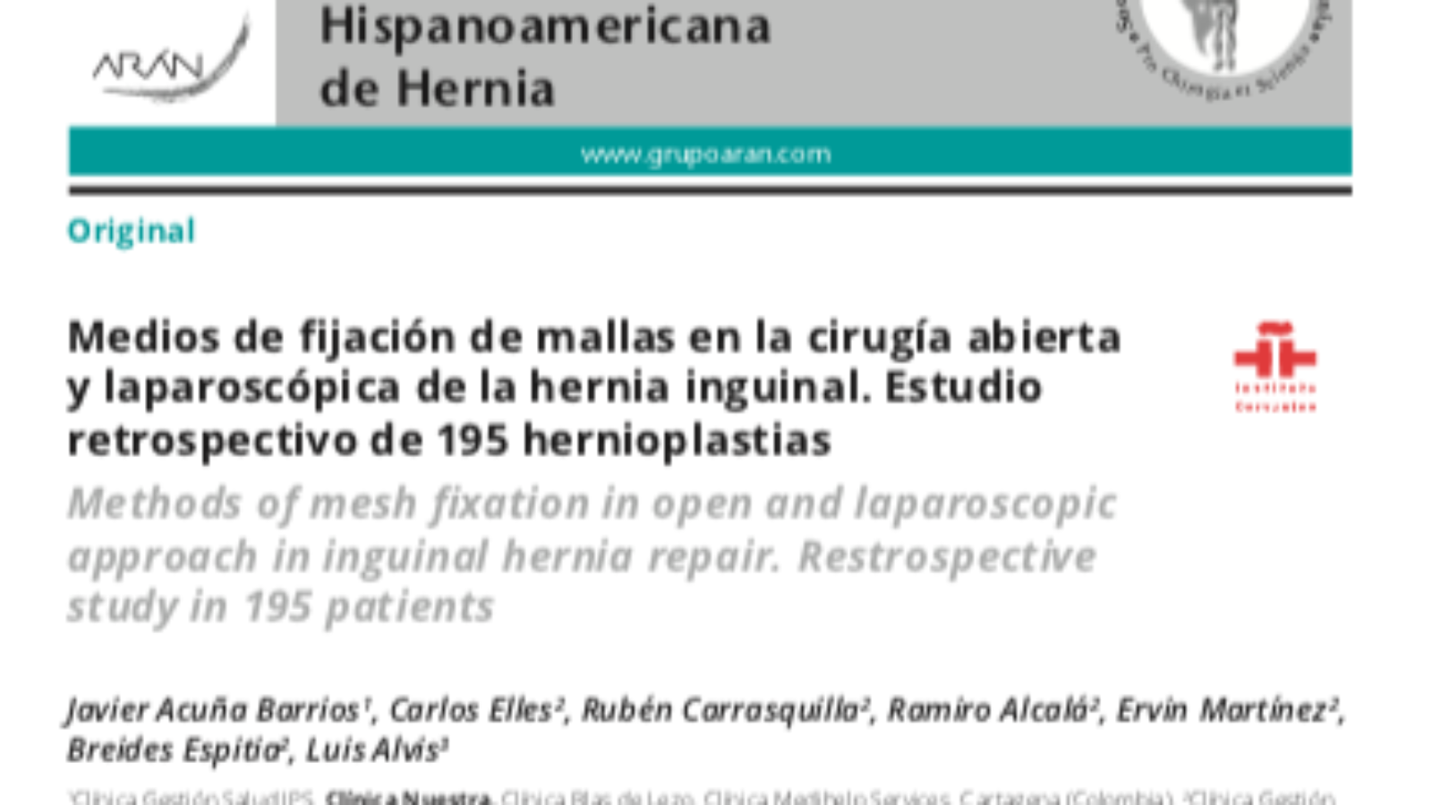 Articulo Dr Javier Acuña - Revista Hispanoamericana de Hernia